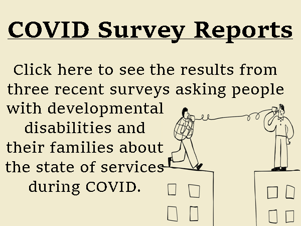 "Picture Link to our Coronavirus Surveys results, with cartoon of two people standing on the roofs of two building holding ends of a ""tin can phone"""
