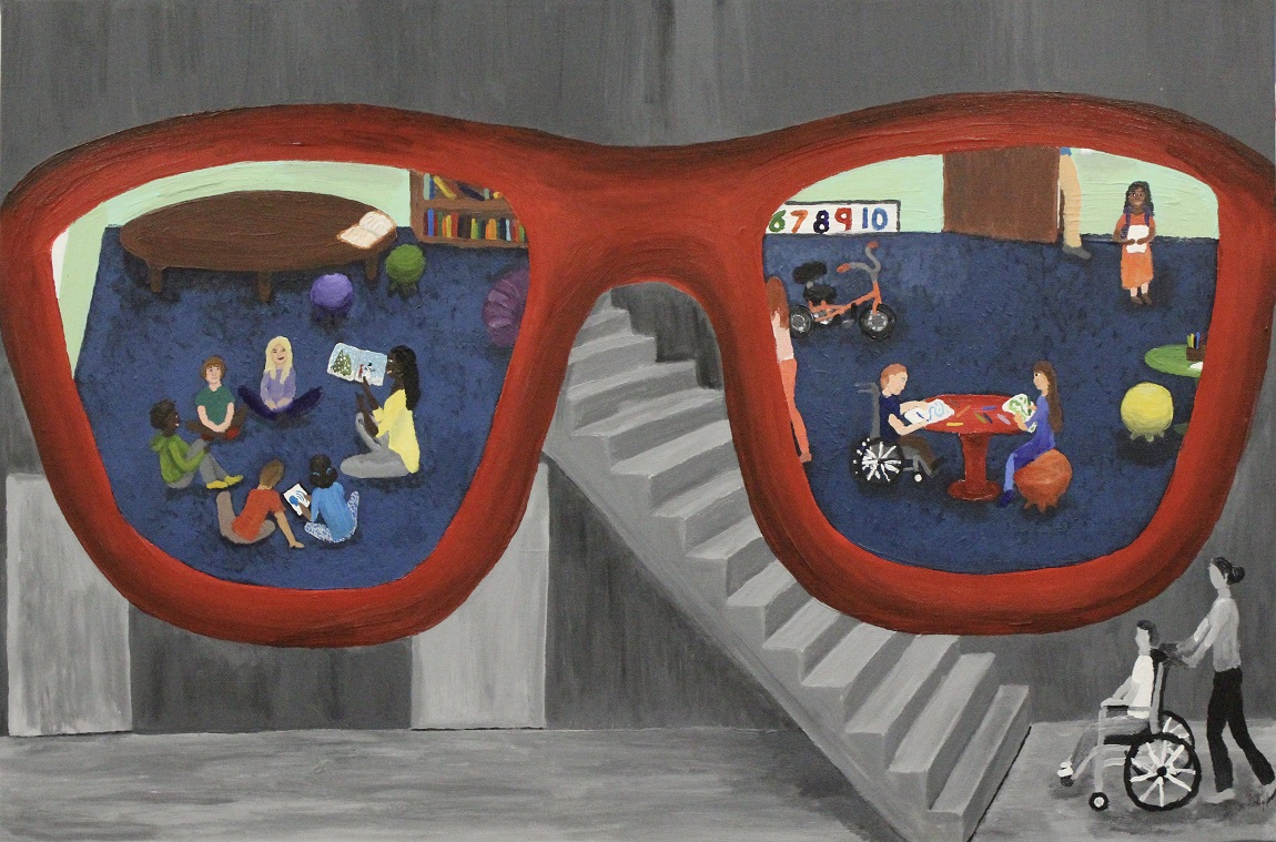 On a black and white background showing a person being pushed in a wheelchair stopped at the bottom of a flight of stairs, a pair of red glasses is superimposed, showing a view through the lenses in full color of an inclusive classroom with students of various abilities