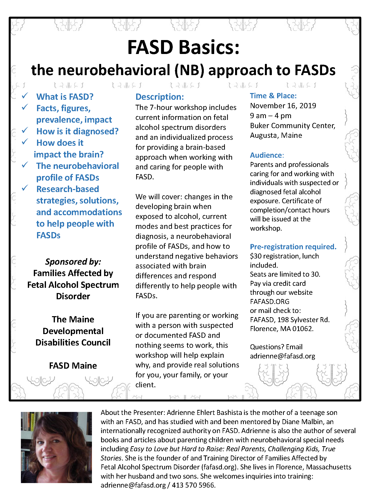 FASD TRAINING FLYER Augusta ME - see post below for text